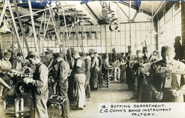 C.G. Conn's Band Instrument Factory 1913-Buffing Department