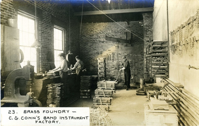 C.G. Conn's Band Instrument Factory 1913-Brass Foundry