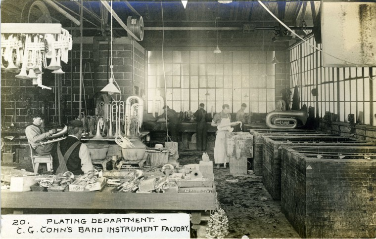 C.G. Conn's Band Instrument Factory 1913-Plating Department