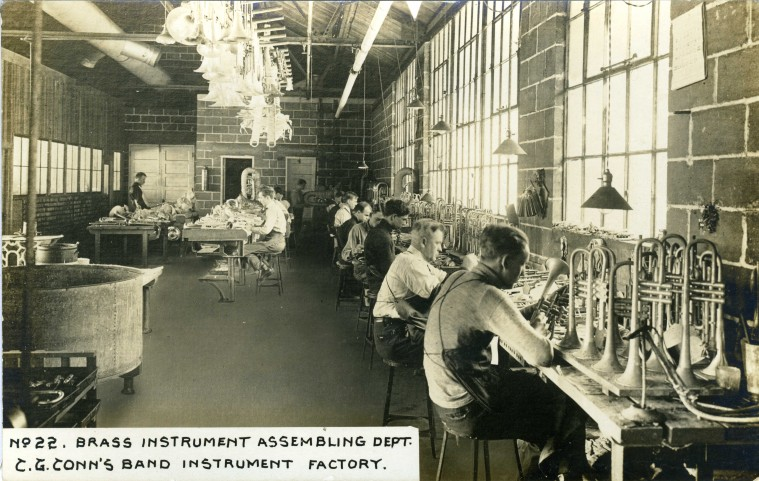 C.G. Conn's Band Instrument Factory 1913-Brass Instrument Assembling Dept