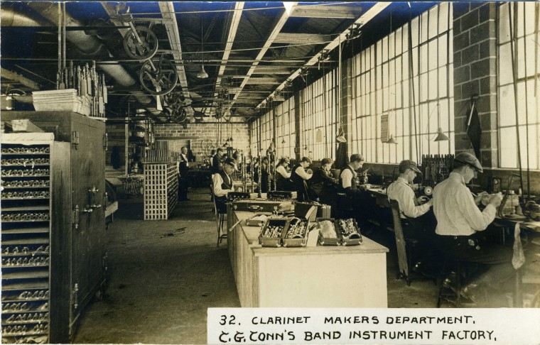 C.G. Conn's Band Instrument Factory 1913-Clarinet Makers Department