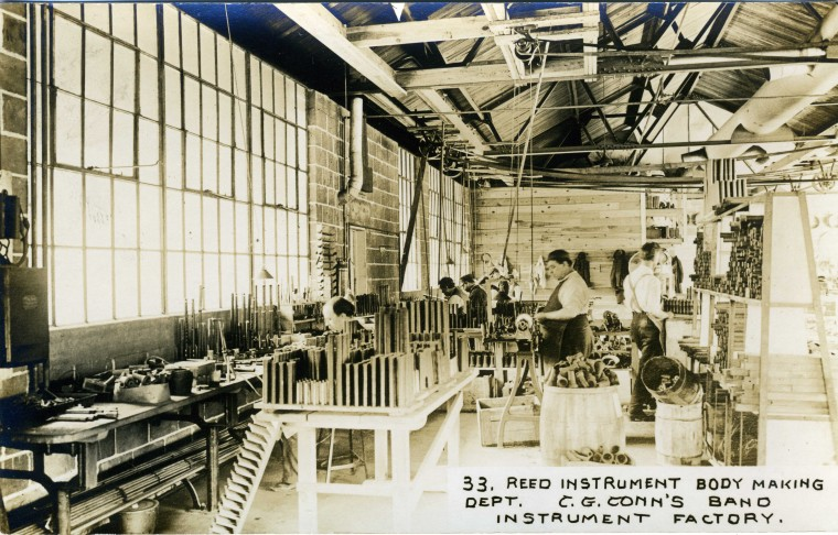 C.G. Conn's Band Instrument Factory 1913-Reed Instrument Body Making Dept