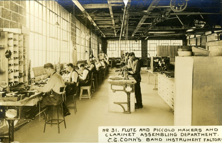 C.G. Conn's Band Instrument Factory 1913-Flute and Piccolo Makers and Clarinet Assembling Department