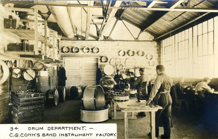 C.G. Conn's Band Instrument Factory 1913-Drum Department