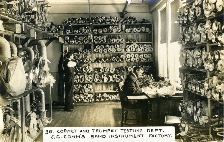 C.G. Conn's Band Instrument Factory 1913-Cornet and Trumpet Testing Dept