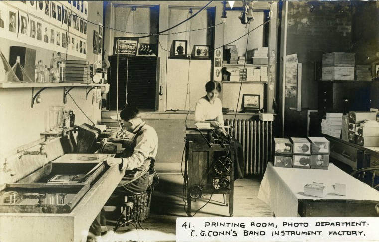 C.G. Conn's Band Instrument Factory 1913-Printing Room, Photo Department