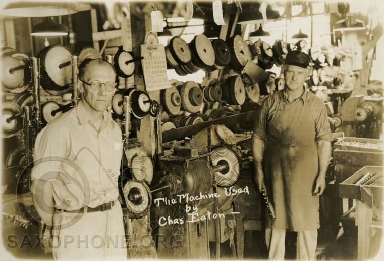 Buescher Factory August 1928-Section of the Buffing Dept. (Maching used by Chas. Eaton)