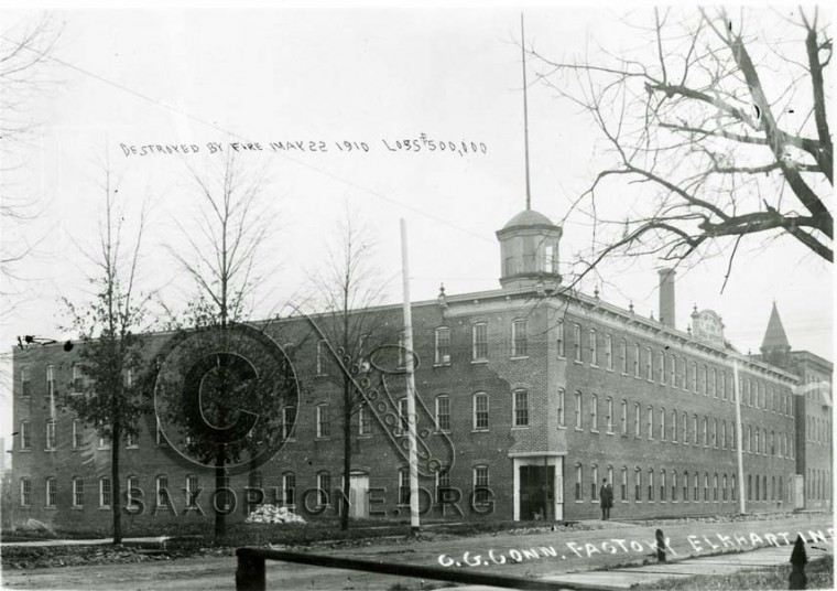 C.G Conn Factory Destroyed by Fire May 22, 1910-Elkhart, Indiana