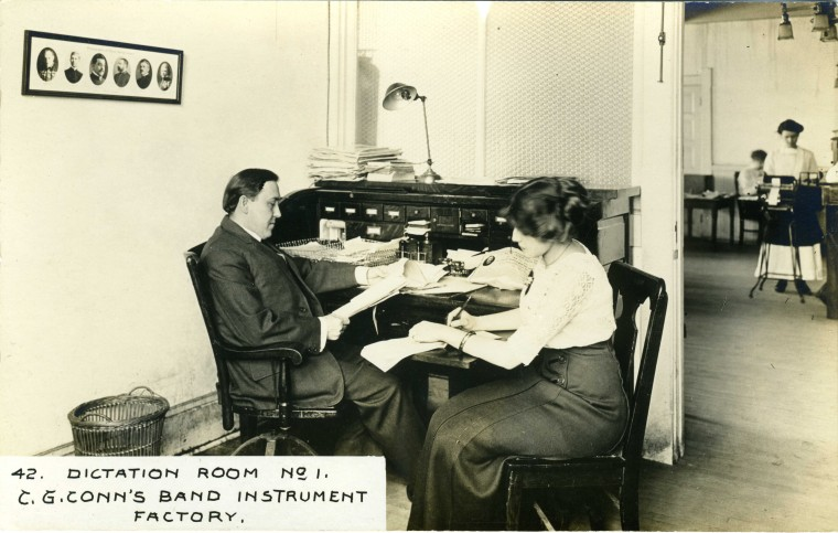 C.G. Conn's Band Instrument Factory 1913-Dictation Room