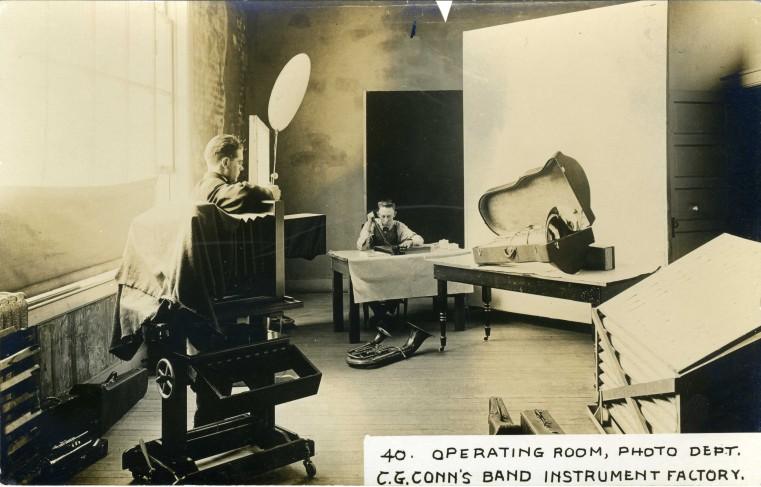 C.G. Conn's Band Instrument Factory 1913-Operating Room, Photo Dept