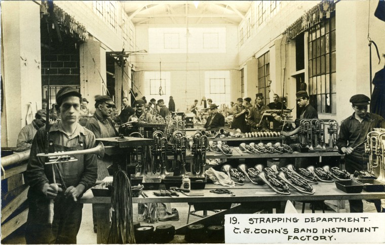 C.G. Conn's Band Instrument Factory 1913-Strapping Department