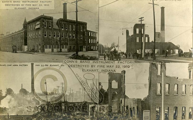 Conn's Band Instrument Factory Destroyed by Fire May 22, 1910-Elkhart, Indiana