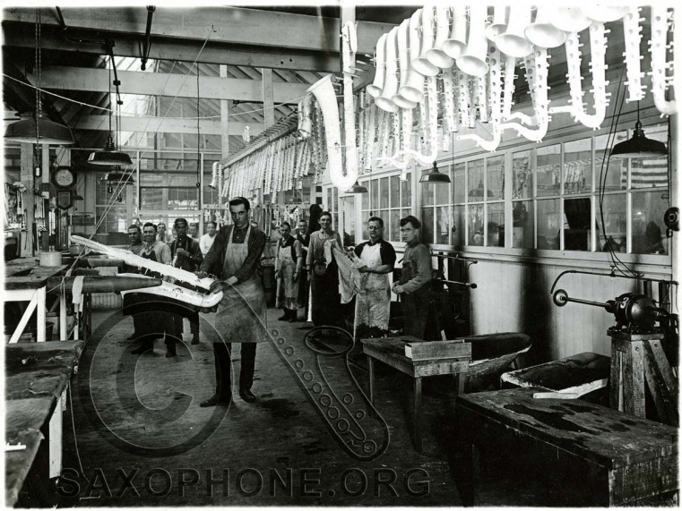Buescher Factory Scratch Brushing Department-around 1925