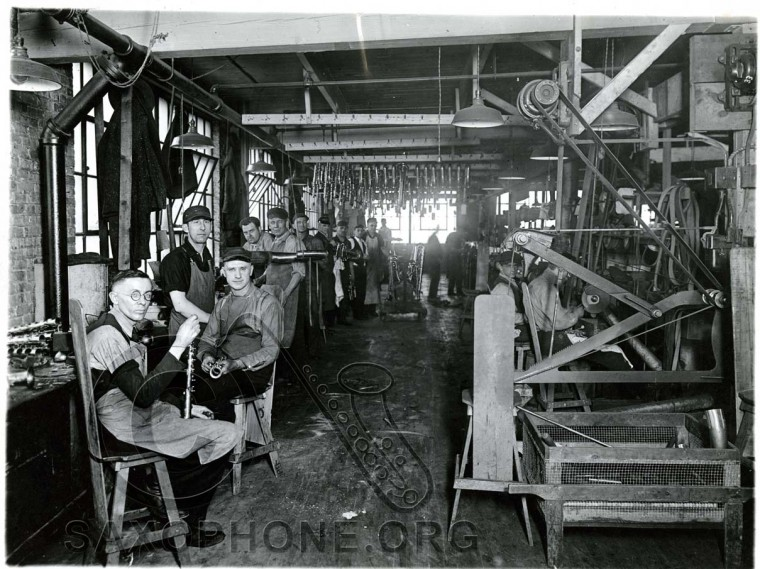 Buescher Factory Polishing and Buffing Department-approx. 1920