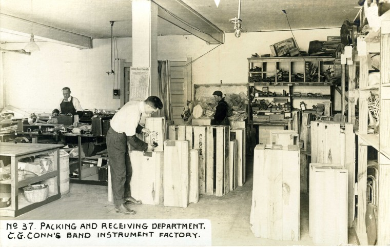 C.G. Conn's Band Instrument Factory 1913-Packing and Receiving Department