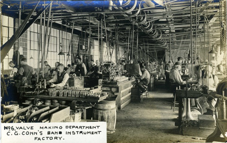 C.G. Conn's Band Instrument Factory 1913-Bell and Branch Department