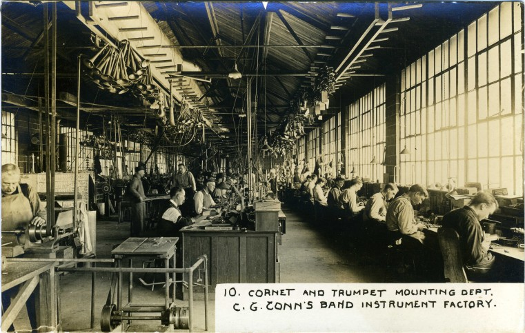 C.G. Conn's Band Instrument Factory 1913-Cornet and Trumpet Mounting Dept