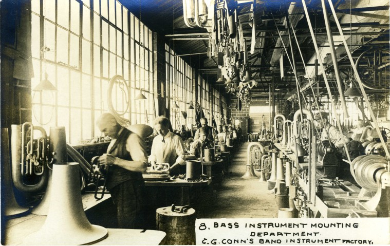C.G. Conn's Band Instrument Factory 1913-Bass Instrument Mounting Department