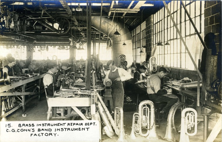 C.G. Conn's Band Instrument Factory 1913-Brass Instrument Repair Dept