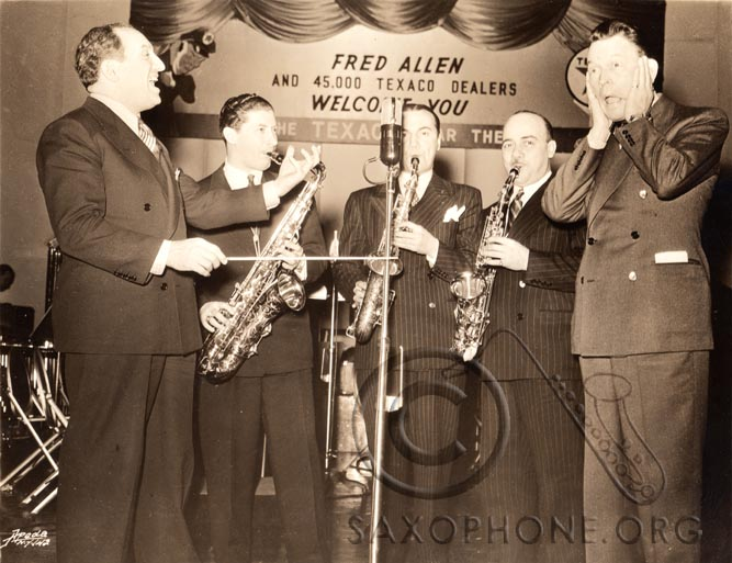 Fred Allen's Texaco Broadcast from CBS Studios in New York, March of 1941 - Al Goodman's sax section composed of Murray Cohan, Artie Manners and Andy Sannella demonstrate the new Selmer-U.S. Padless Saxophone