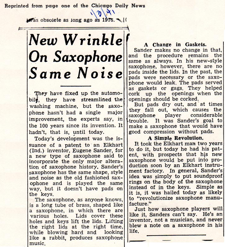 Chicago Daily News - Selmer Padless Saxophone -1/3/1941