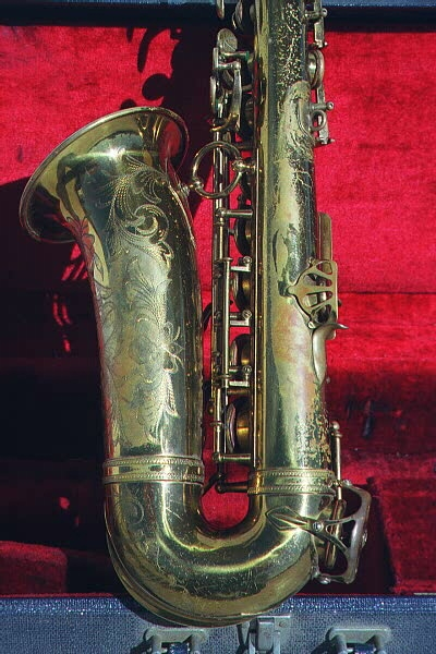 1938 Selmer Balanced Action alto saxophone with ping dents, possible evidence of a dent-pull by the thumb rest and general lacquer wear
