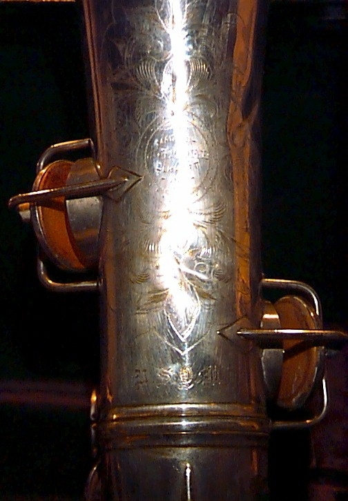 Very Early Conn Alto Saxophone Bell Engraving saxophone.org